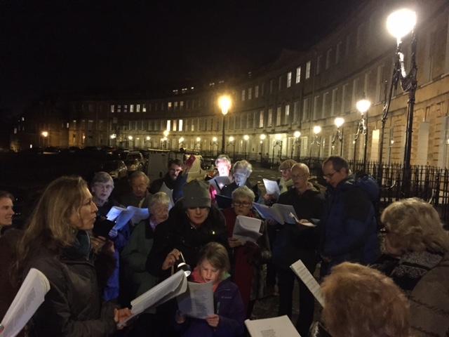 LCA carol singers in the Crescent, 17 December 2015.JPG