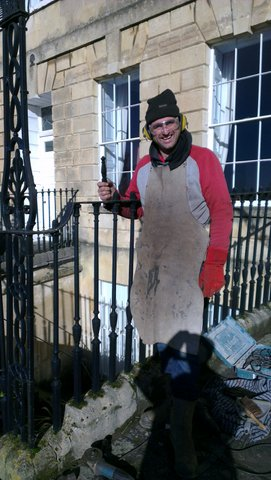 Demian Bellart of Chapel Forge starts the first finial replacement in Lansdown Crescent