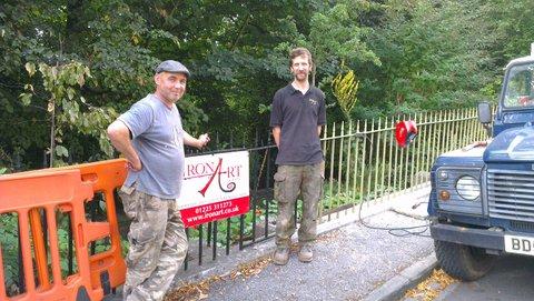 Ironart repairing the railings opposite Lansdown Place East, September 2016