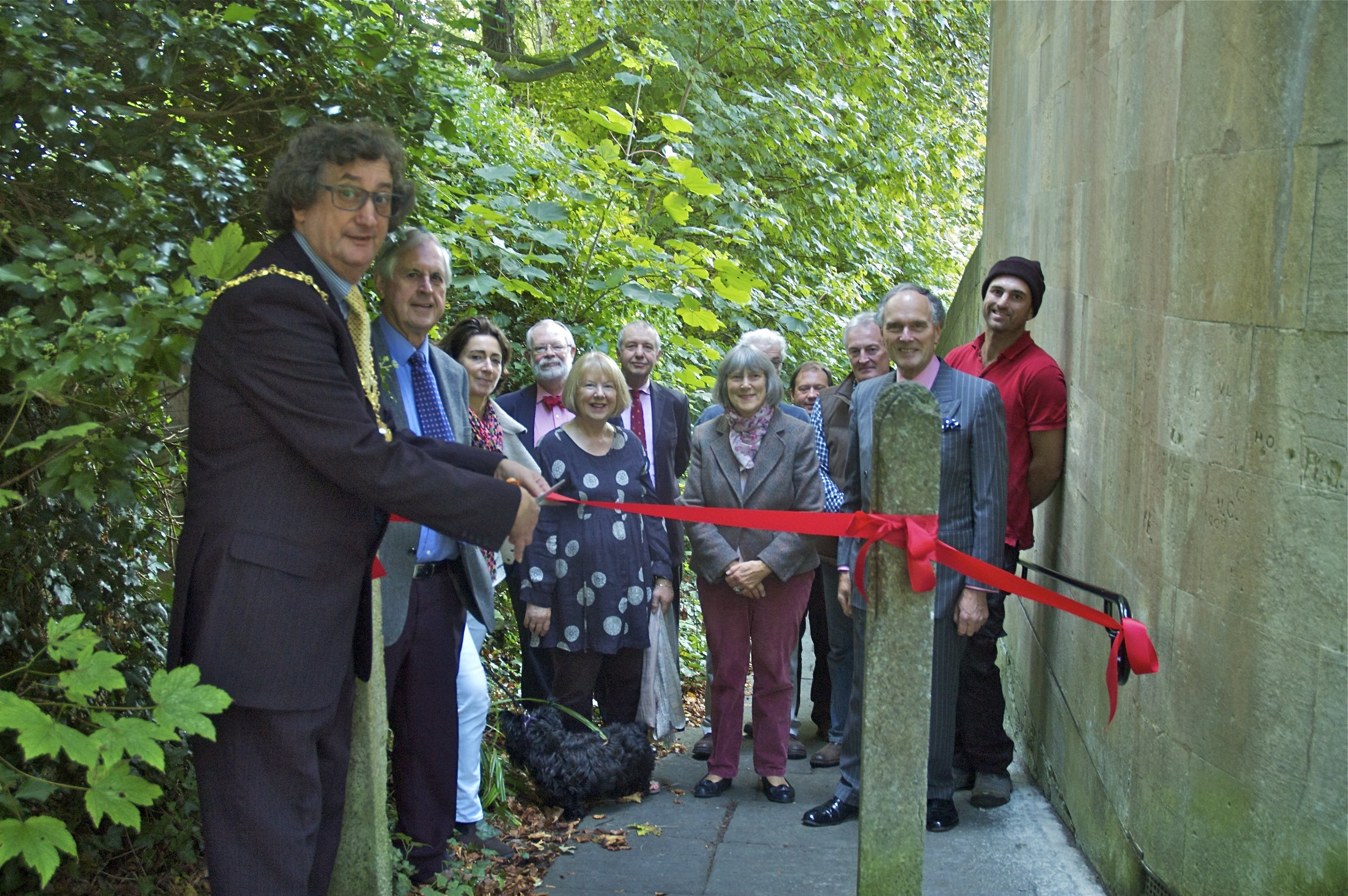 Opening of the new Park Street footpath rail, October 2013
