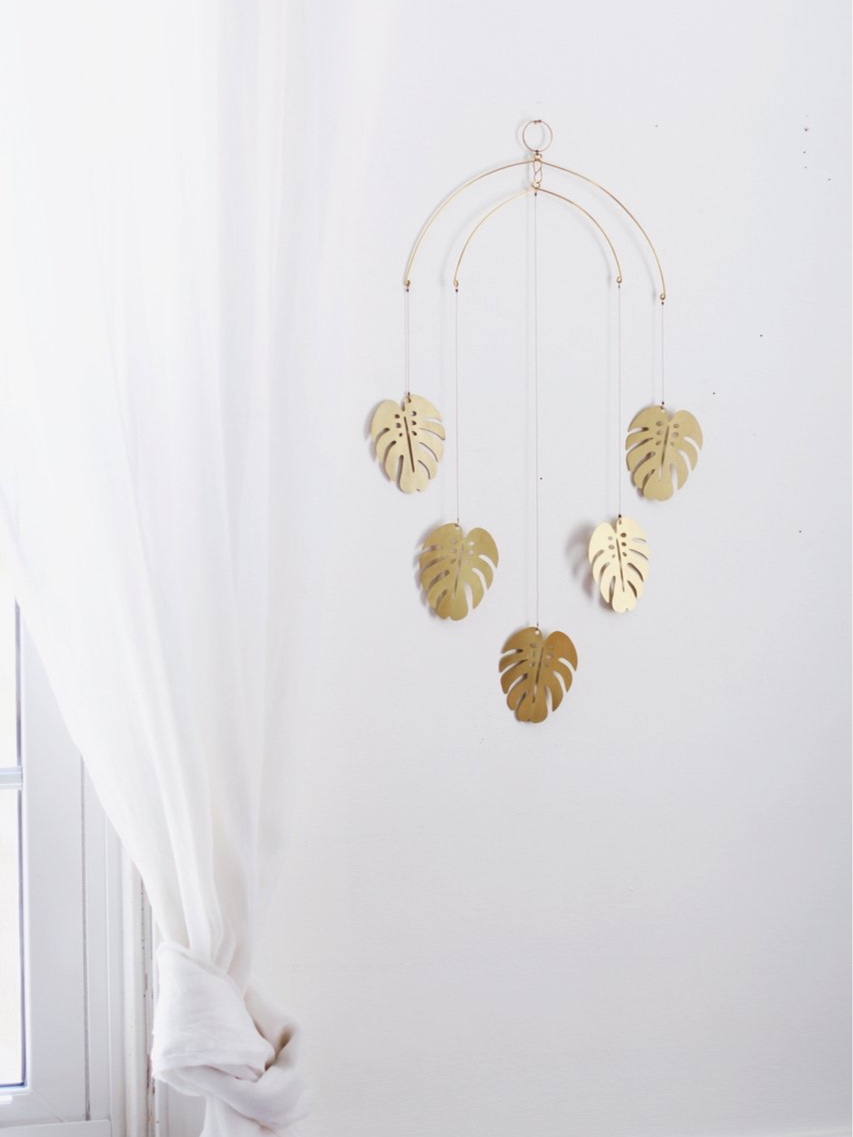 Brass Monstera Leaf Mobile