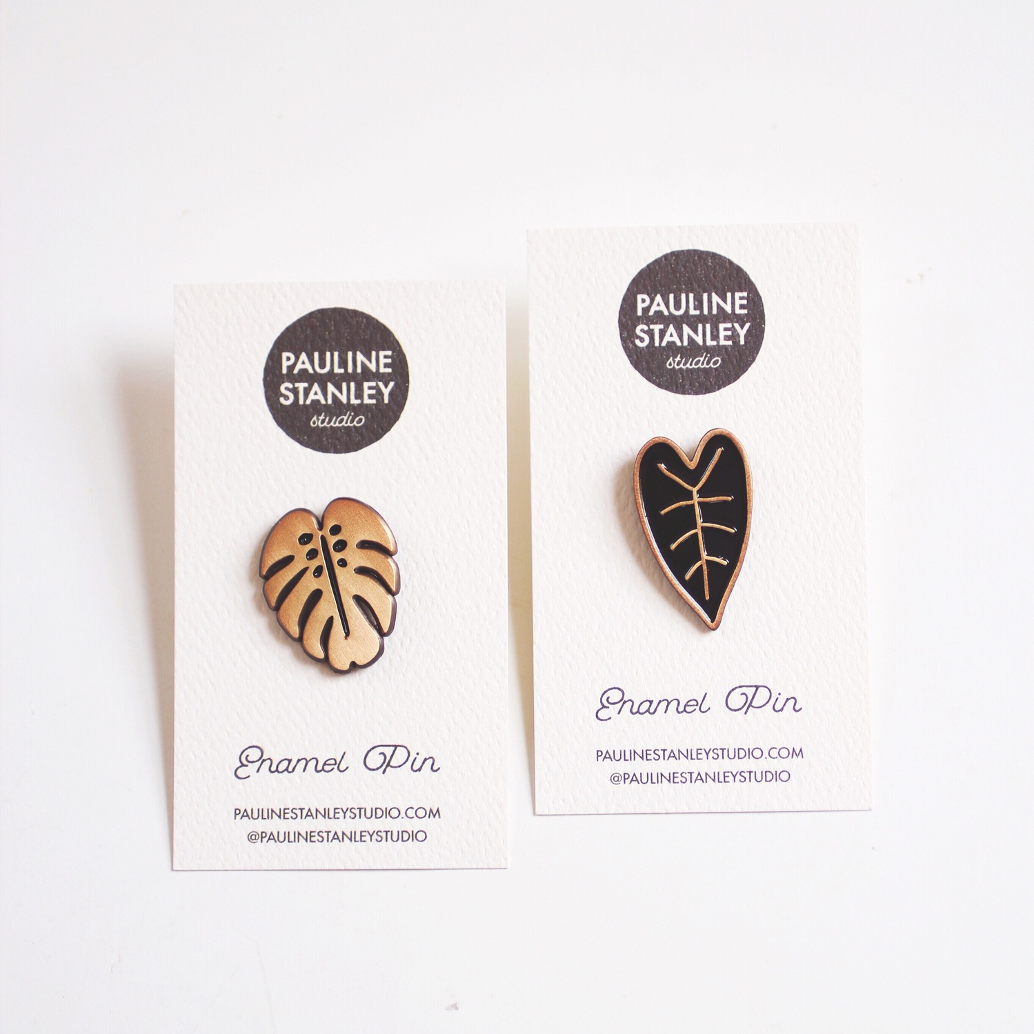 Monstera Pin  +  Heart Leaf Pin