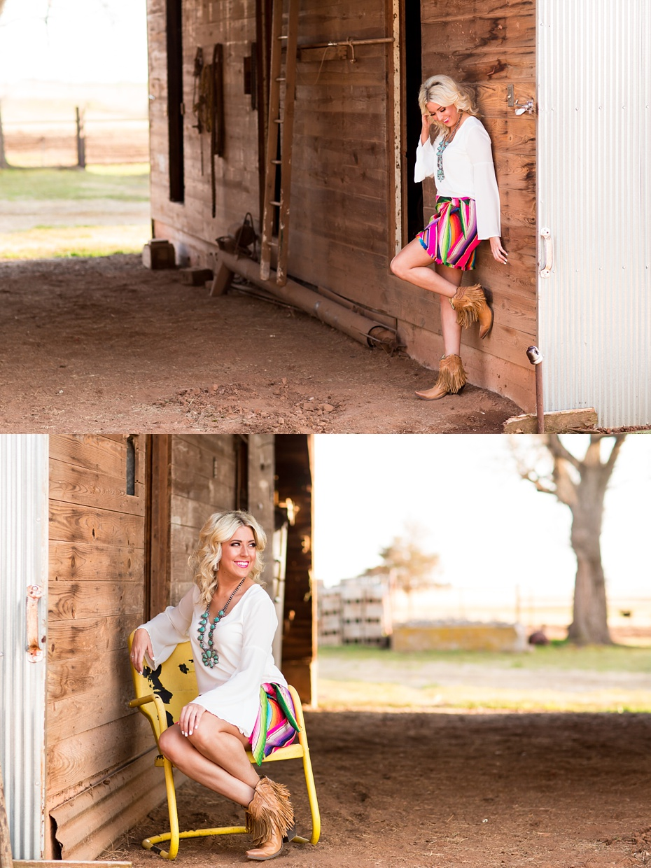 Her adorable serape skirt is from  Southern Trends   Fringe booties are from  Buckin' Wild Designs and Boutique