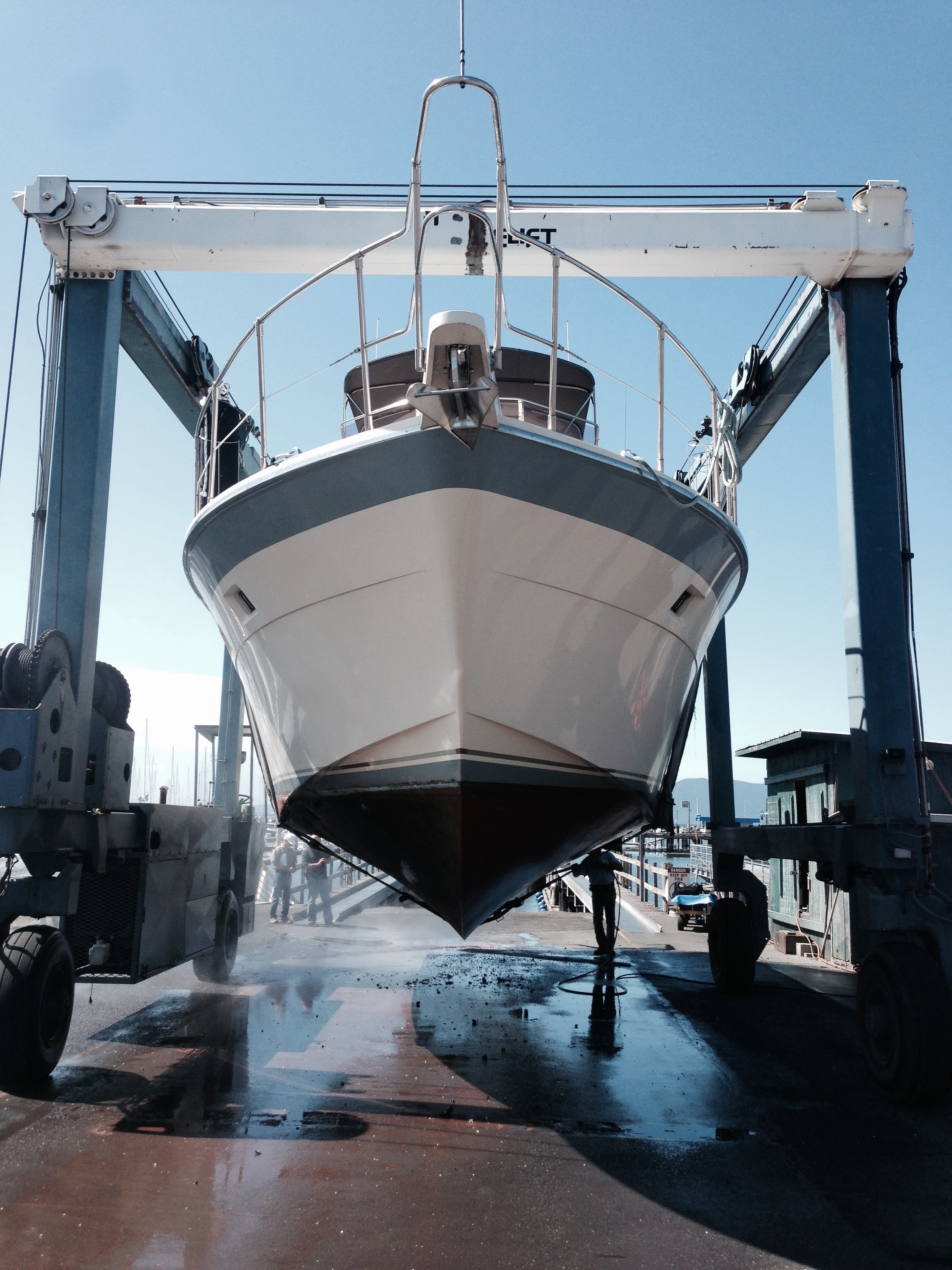 Inspecting the hull and running gear is easy while she's up in the slings…