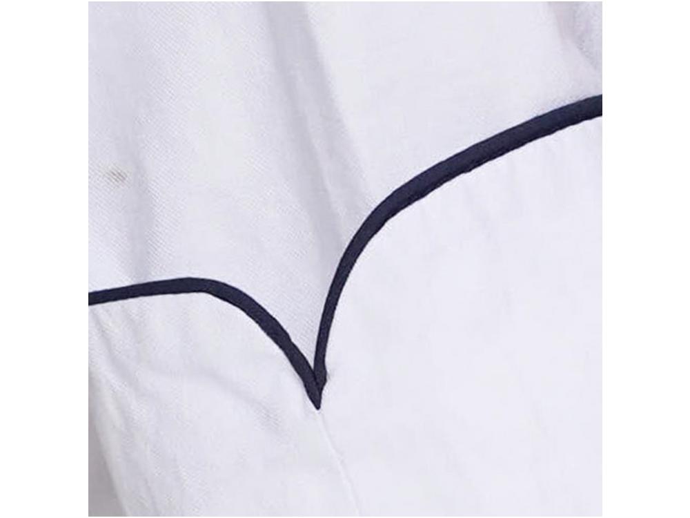 White, navy trim