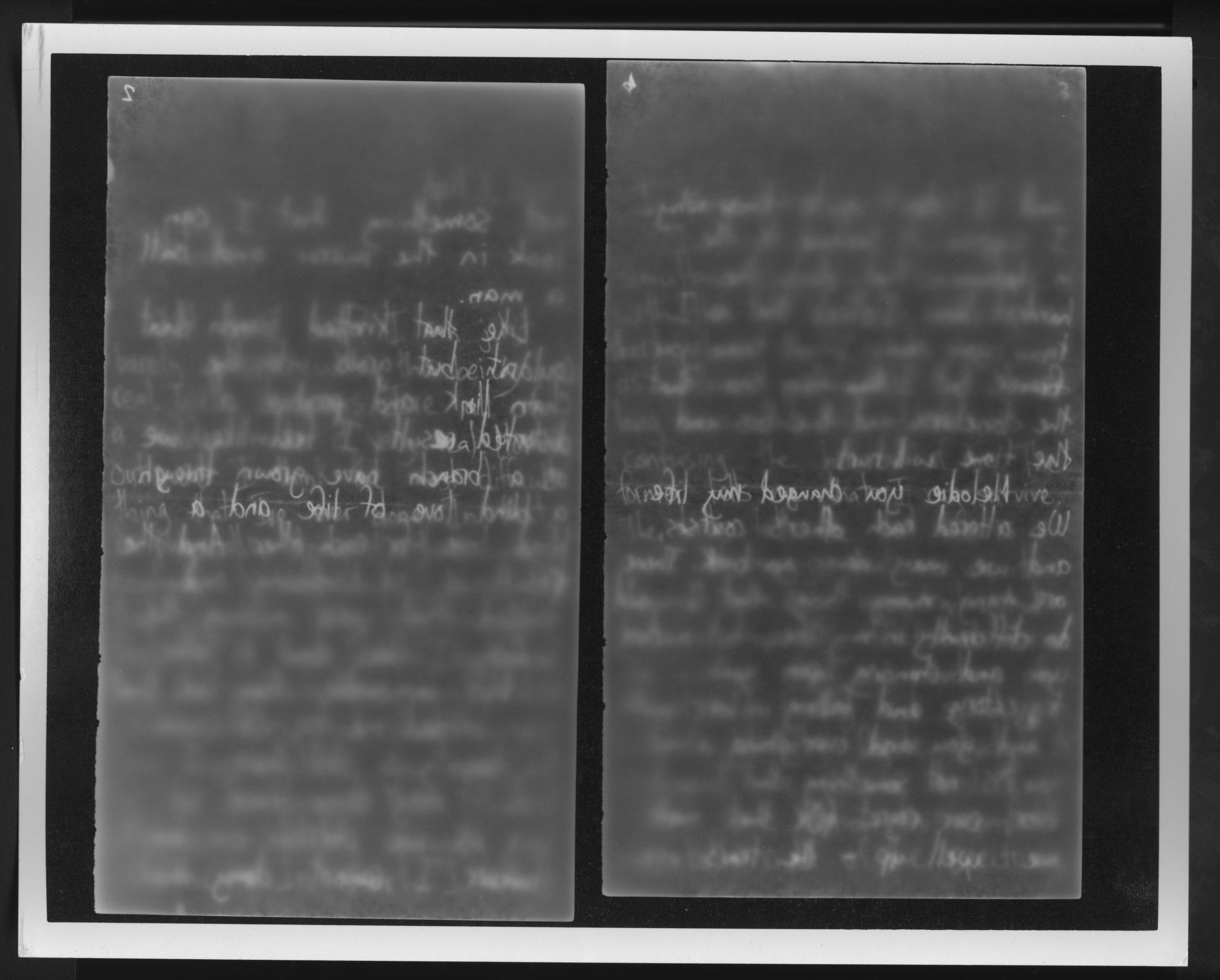 If I Could Read You Backwards Until You Weren't Writ, 2016.  Photogram.