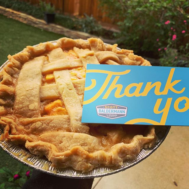 What's the proper way to say thank you to all the friends and neighbors who have knocked on so many doors? Home made peach pie is a start. 🧡 ... #scott4schools #fightforwhatisright #fliptheboard #redfored #denverpublicschools #denverpublicschool #schoolboarddistrict1denver #copolitics #edcolo #coloradopublicschools #educatecolorado #studentsfirst #dps #colorado #denvercolorado #lincolnelementaryschool #flipdps #strongneighborhood #standardizedtests  #schoolsafety #schoolhealth  #coloradoclassroom #studentsfirst  #scottforschools #studentsuccess #studentleader #dcta #denverteacher #denverteachers #schoolboarddenver #denverstudents
