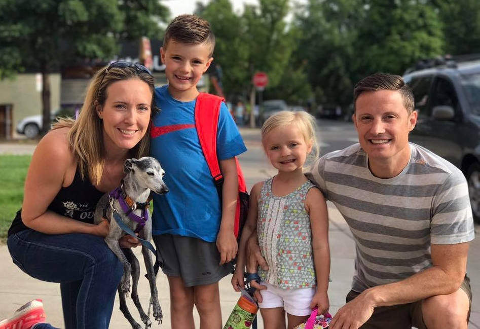 Our Italian Greyhound, Lucy, comes with us everywhere, even the first day of school!