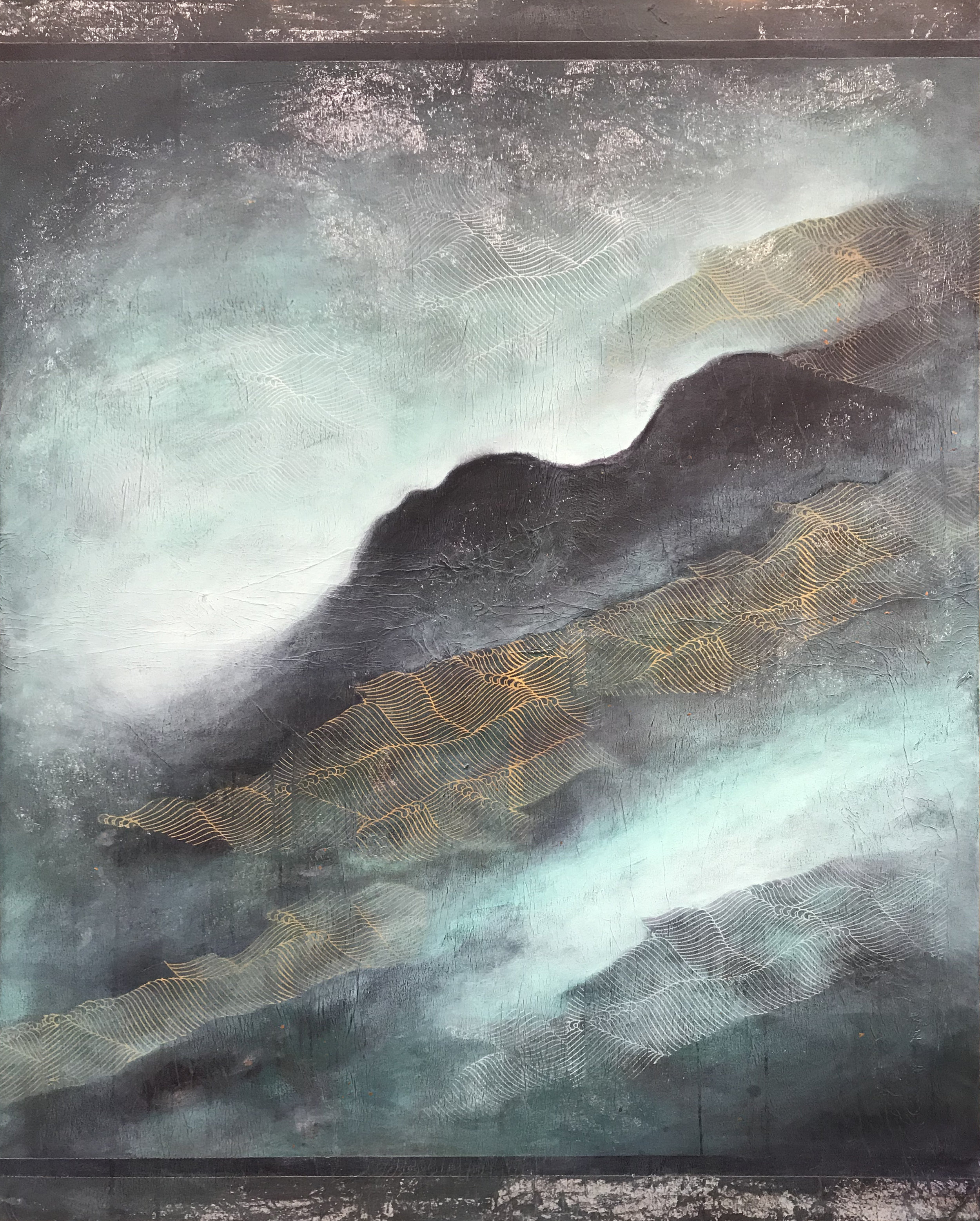 """Letting Go"" - This painting represents a falling, a descent, a 'letting go'. A natural journey downwards, flowing like the current in a river, over the rocks and pebbles, following the simplest route back to its source. This work is also a metaphor for human experience. To quiet the mind, soften mental identification with the external world and release from the fear and need to control one's 'life'. To let go and to trust the direction of the natural current of life. To turn the gaze inward to connect with the infinite source of stillness within."