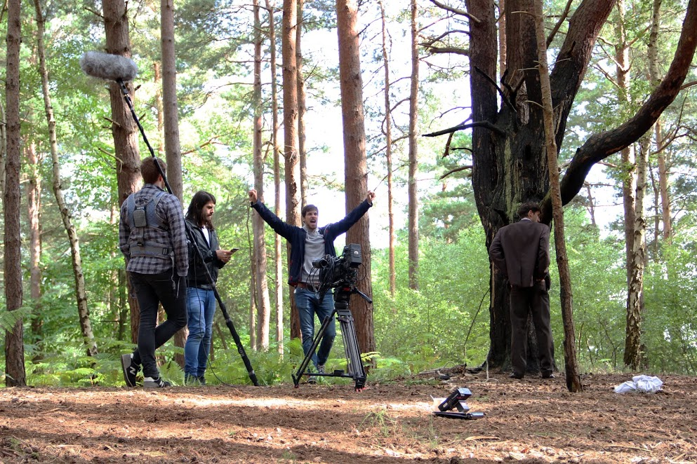 Giles Alderson on set of The Heart of The Forest with DoP Andrew Rodger and Sound recordist Duncan Ettie.Actor Griffin Stevens gets ready for the take