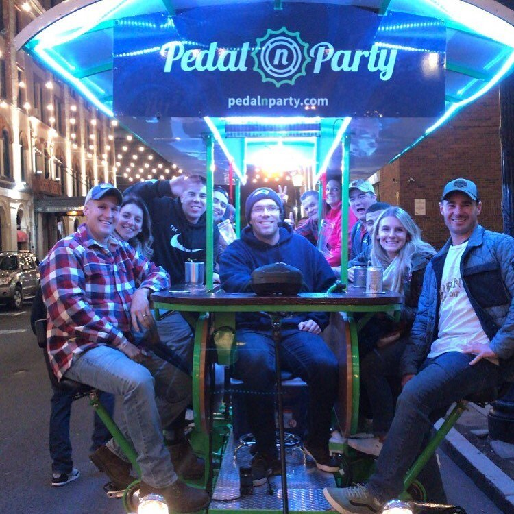 1 bike. 14 friends - This is a 14 person mobile party on wheels. It will be traveling down the streets of downtown Springfield to fun locations that can satisfy every group.FAQs ➝