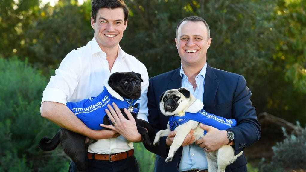 Tim, Ryan (and the pugs!) - Tim and Ryan married in March 2018 after nearly a decade together. Their wedding anniversary is the day after Ryan's birthday and the day before Tim's ensuring Tim never forgets to buy flowers! Their beloved pugs — Louis and Ella —can be spotted sniffing for treats in local dog parks!