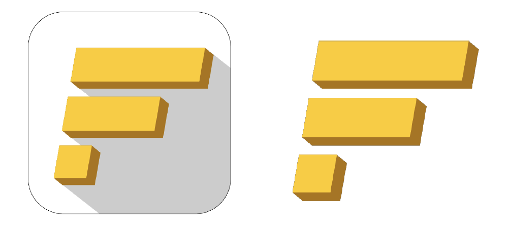 """— 04 LOGO - The app logo for FinFleet mimics the graphic elements of bar graphs to create the letter """"F"""" in a dynamic and minimal fashion. The yellow stands out best against the dark background of the application, and the addition of the shadow against a white background allows it to stand out among other applications on an iPhone home screen."""