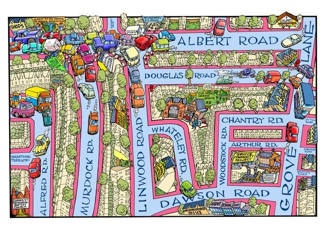 GRA Map - Around 2005, Hunt was asked to make this map of the Grove Residents Association area. Although many of the businesses and shops have changed since then, the traffic problems around Albert Road are still the same.