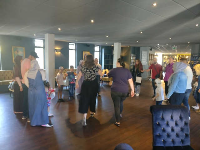 Families taking part in the Horrible Histories Workshop at the Alexander Theatre on 5th July 2019