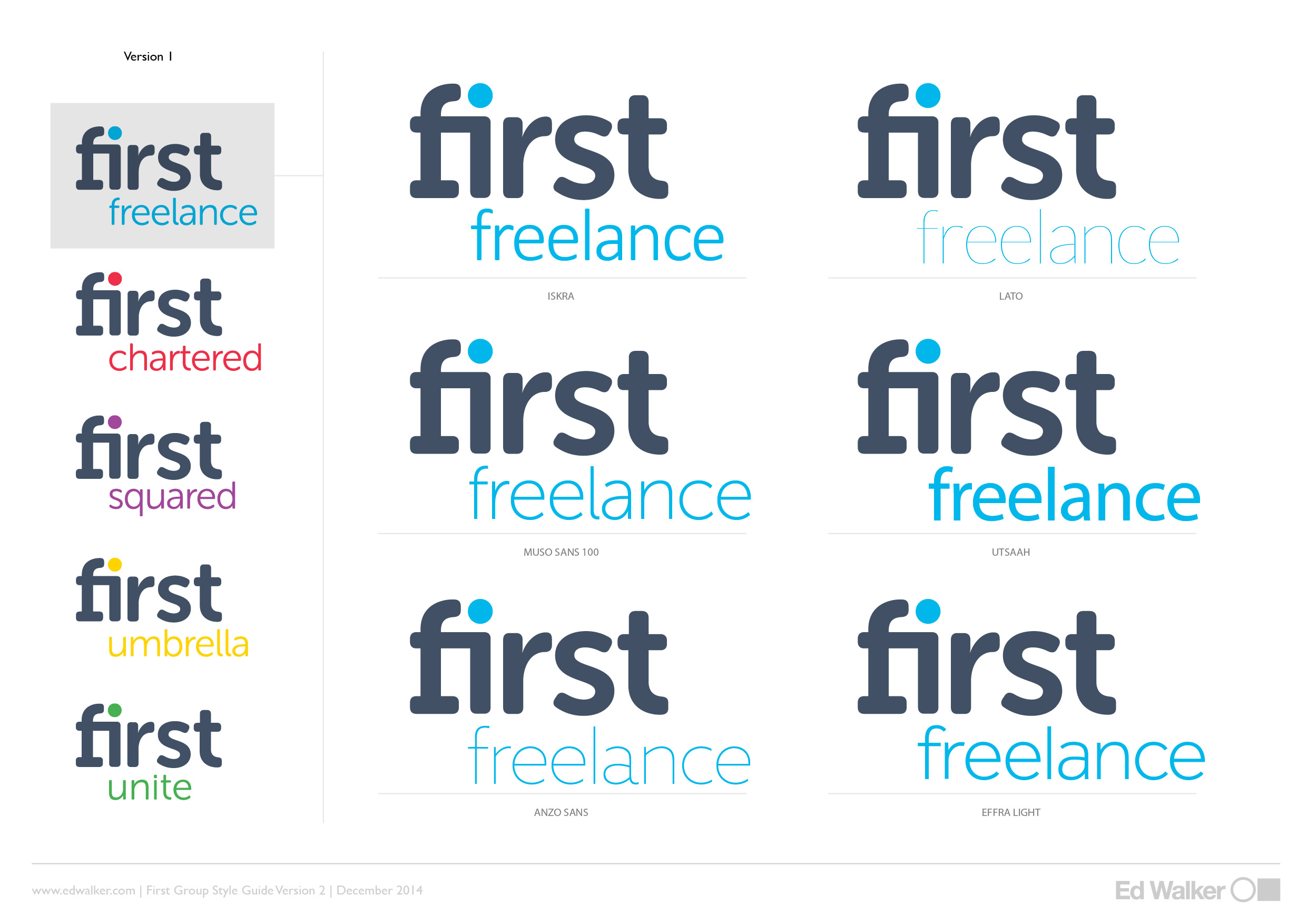 Logo variations for First Freelance