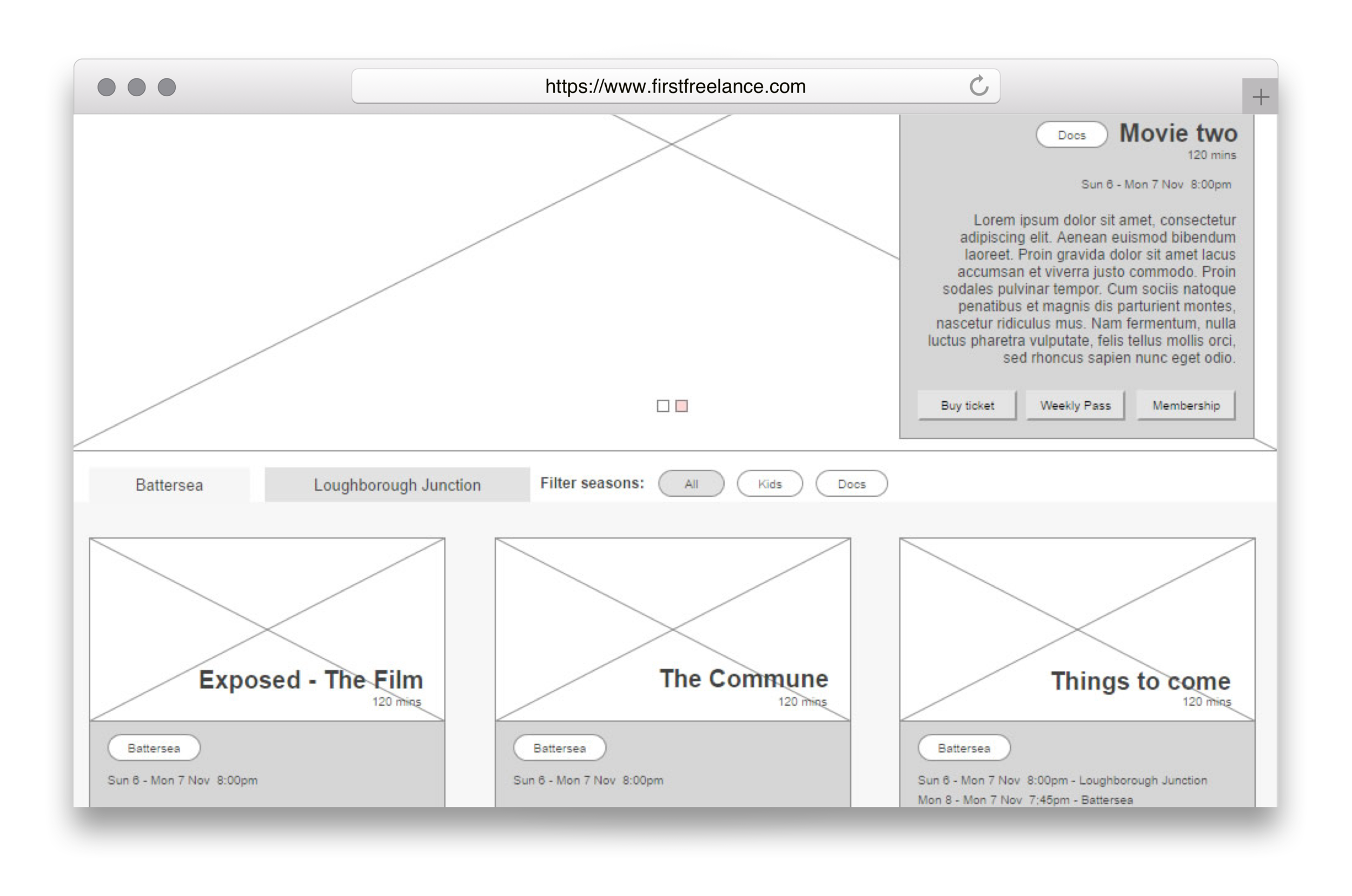The wireframe of the Whirled Cinema website