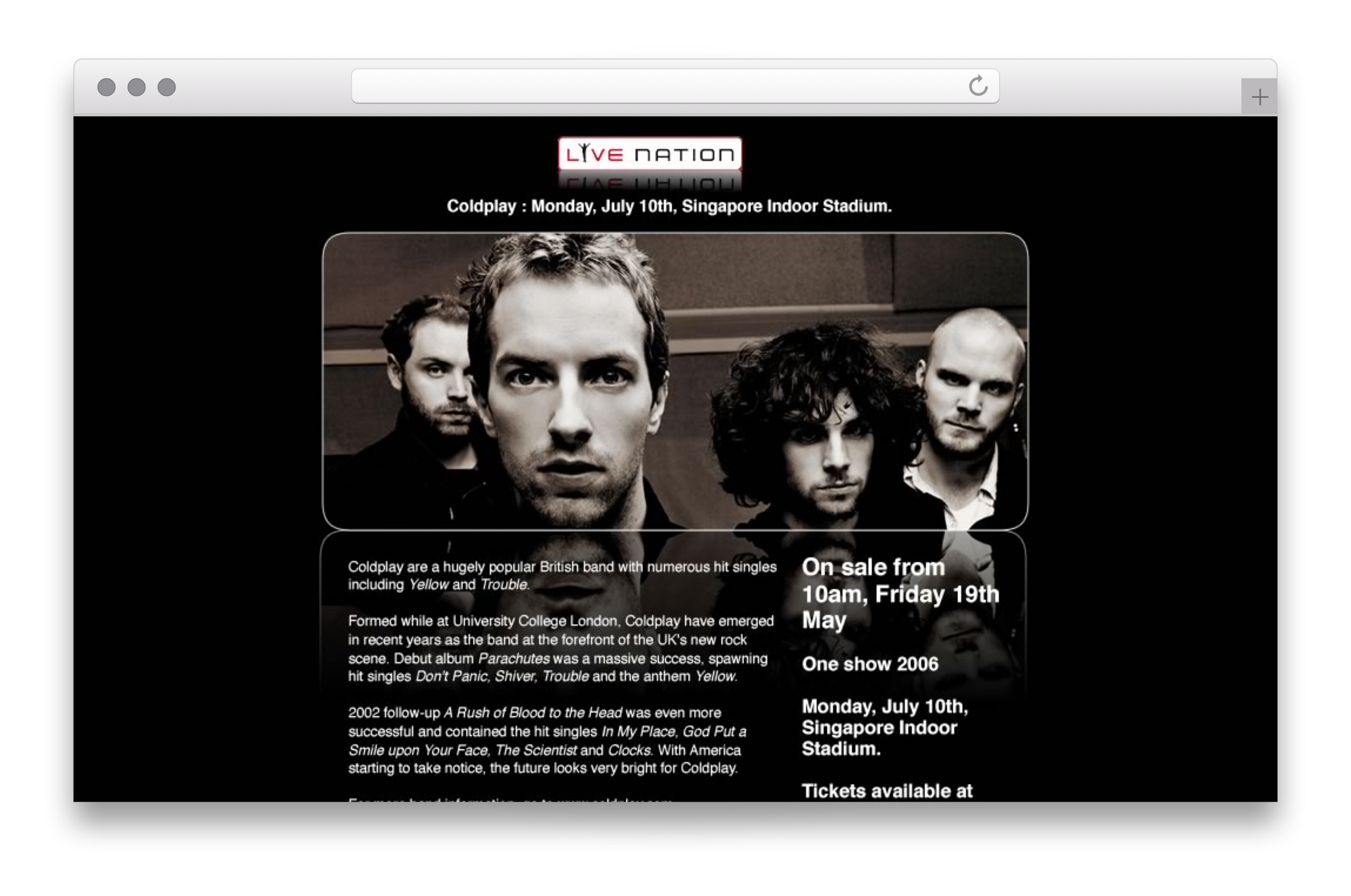 A HTML email for Livenation promoting a Coldplay presale
