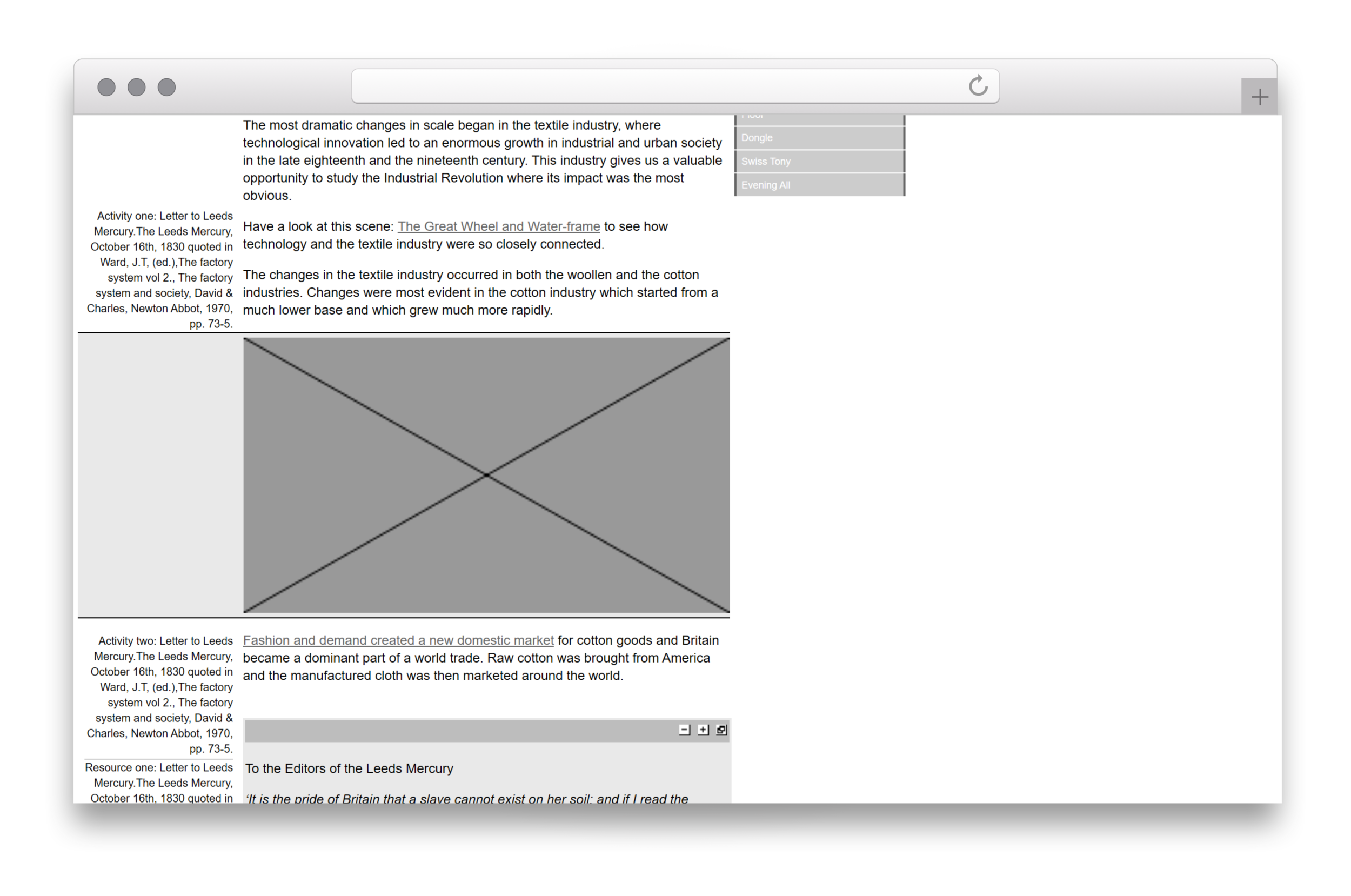 The hand coded HTML wireframe of Making the Modern World