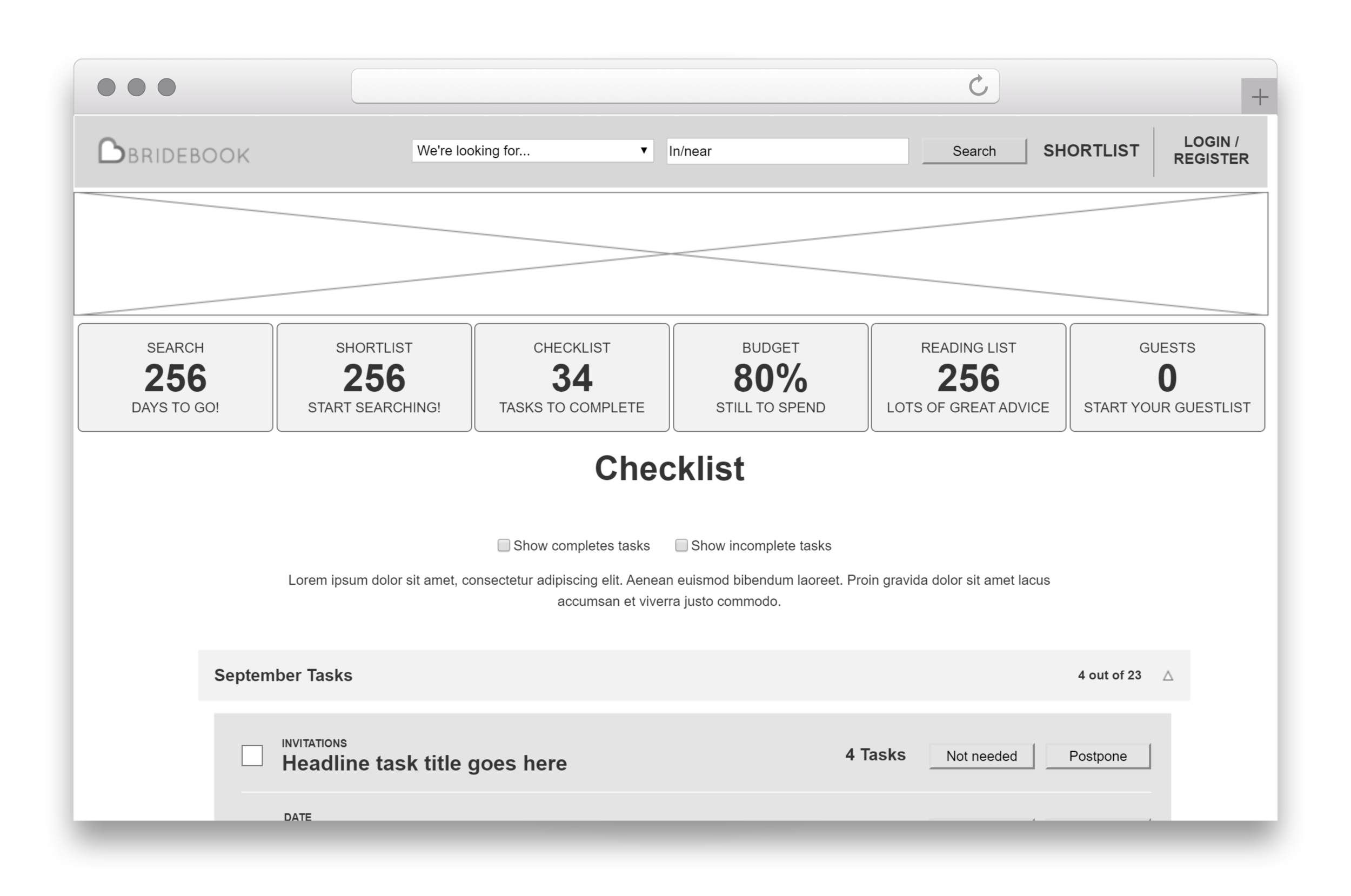 An early wireframe for the Dashboard