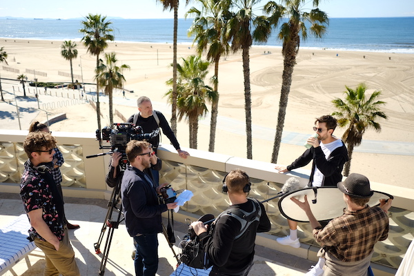 Filming series 3 of Travels With My Father on Venice Beach / Los Angeles / February 2019