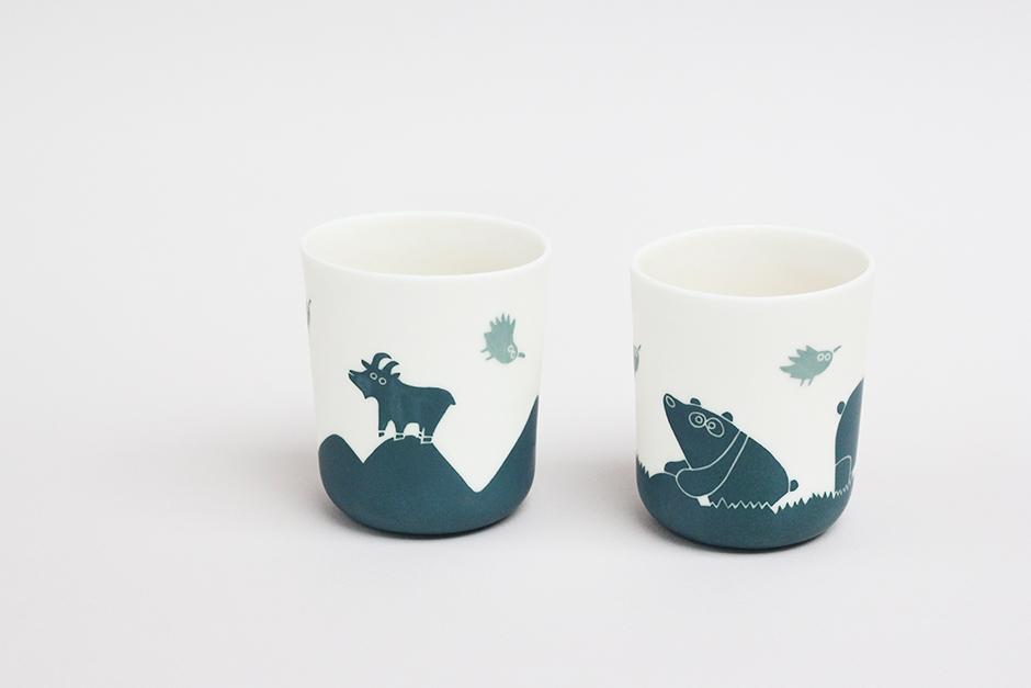 Deux gobelets bas Bouquetin et panda - 940.jpg