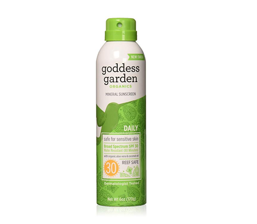 Goddess Garden Sunscreen Spray / realistic plant-based mama reviews