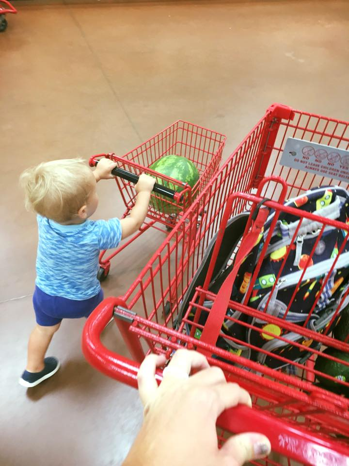 trader joes grocery shopping with a toddler