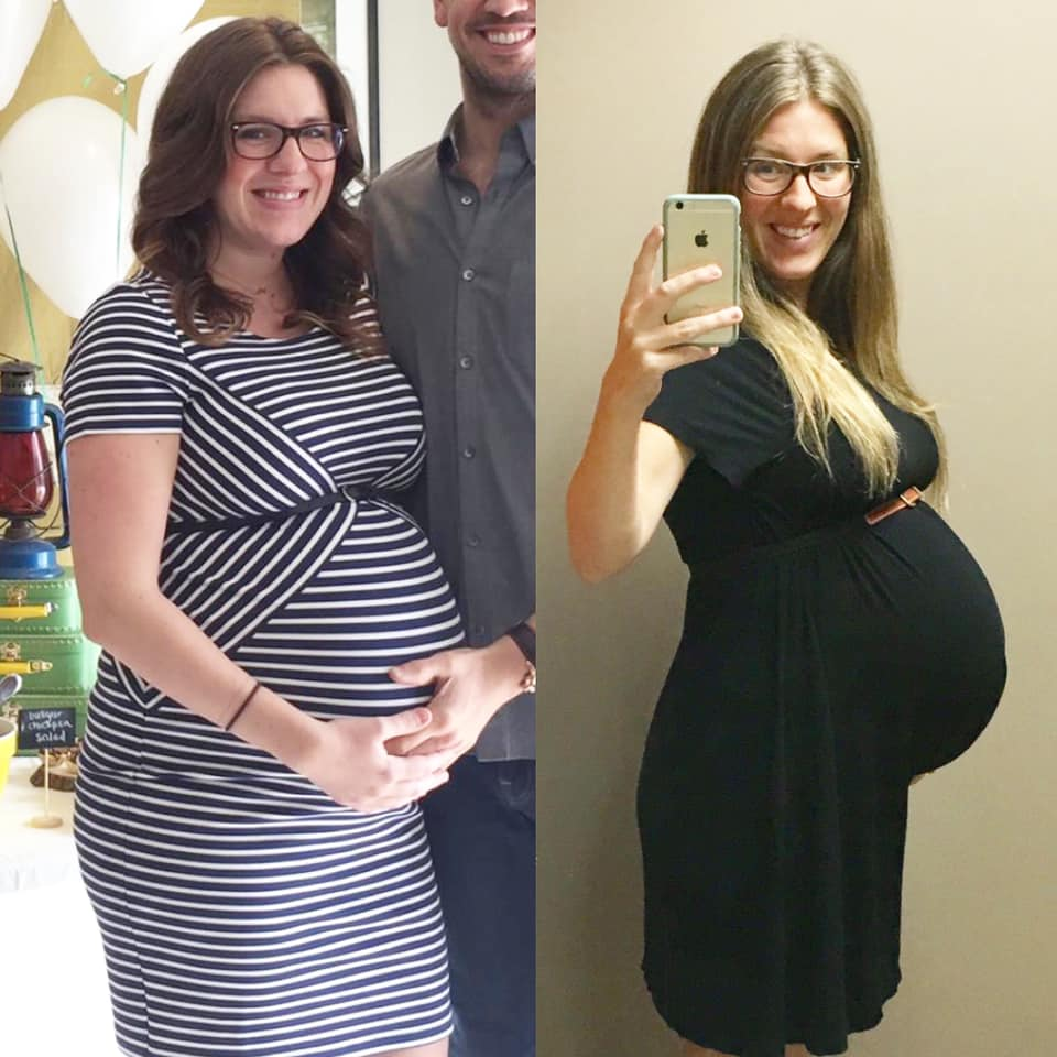 (L) Pregnant in 2016 as a vegetarian (R) Pregnant in 2017 following a plant-based diet.