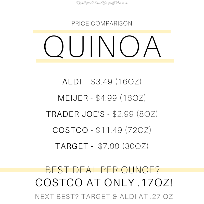 Quinoa is a great source of plant based protein. The nutrition facts blow rice and beans out of the water. Have you tried quinoa? Check out these prices! www.realisticplantbasedmama.com