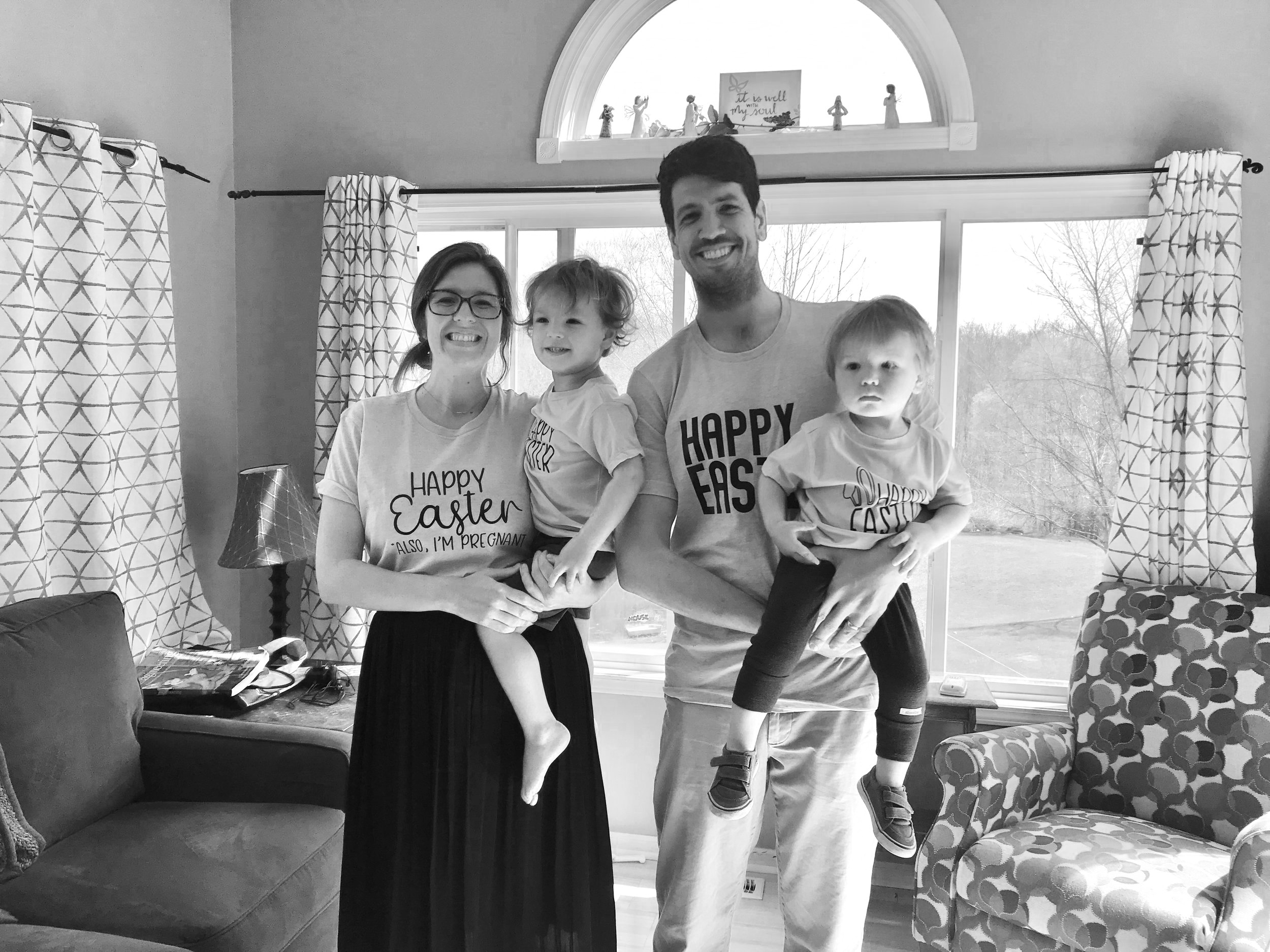 Announcing our pregnancy to family. (Notice my shirt)