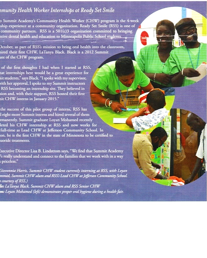 LaTanya and her Ready Set Smile internship team featured in a Summit Academy OIC news article while exhibiting at a Summit's Health Fair.