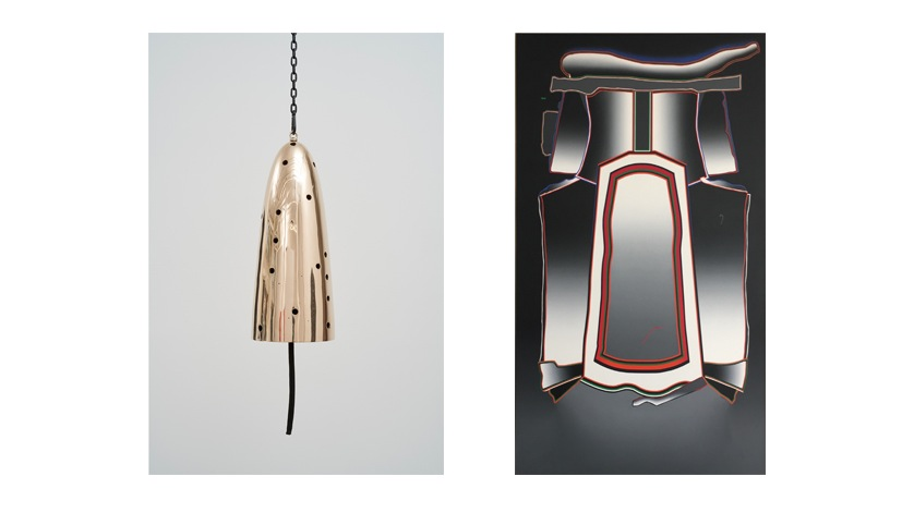 (L)  Davina Semo,  Messenger , 2019, polished and patinated cast bronze bell, whipped nylon line, wooden clapper, powder-coated chain, hardware, overall dimensions variable;  (R)  Deborah Remington,  Sussex , 1976, oil on canvas, 79 1/2 x 49 1/2 inches.
