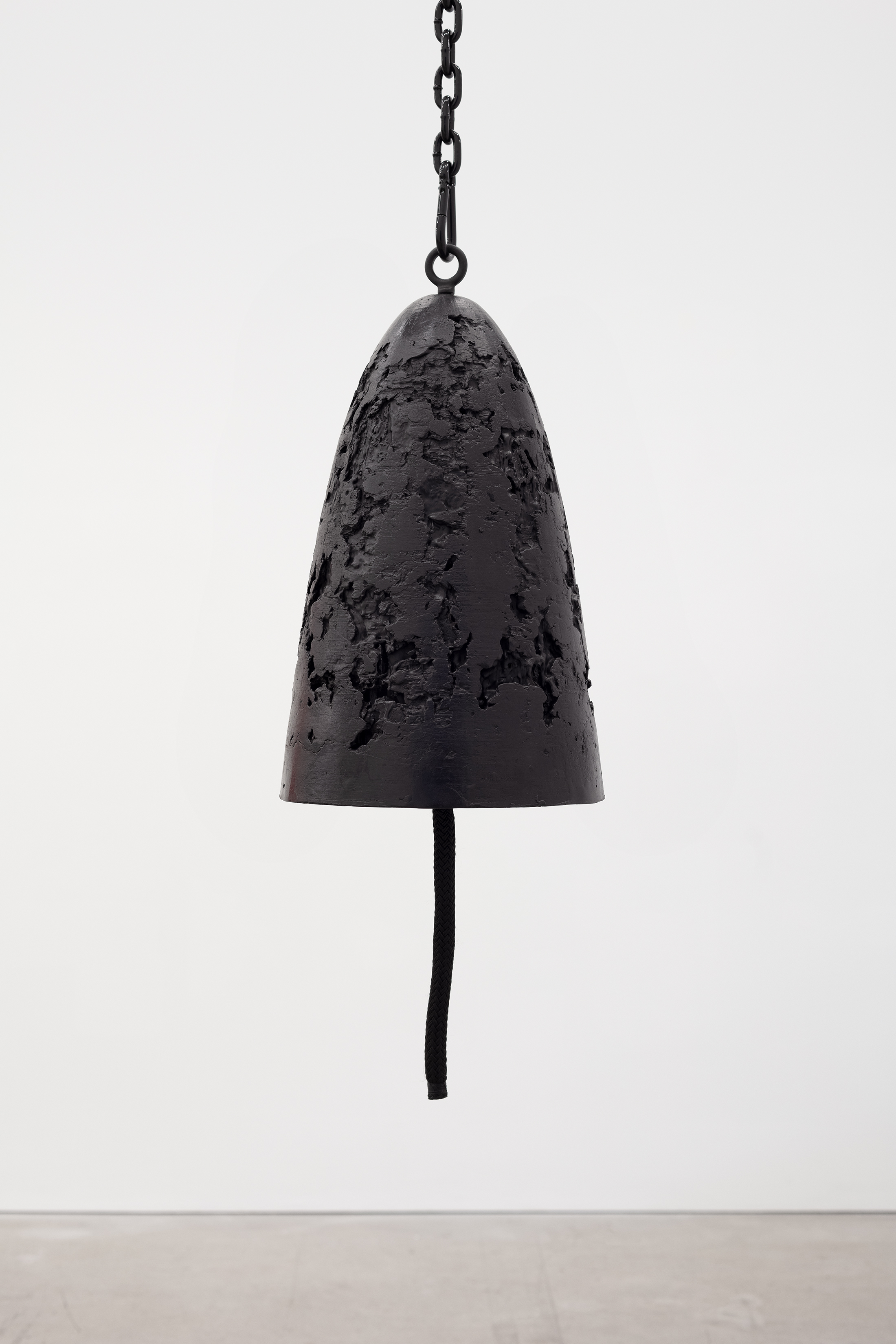 Davina Semo   Protector , 2019 Patinated cast bronze bell, whipped nylon line, wooden clapper, powder-coated chain, hardware Bell: 20 in. tall x 12 1/2 in. diameter