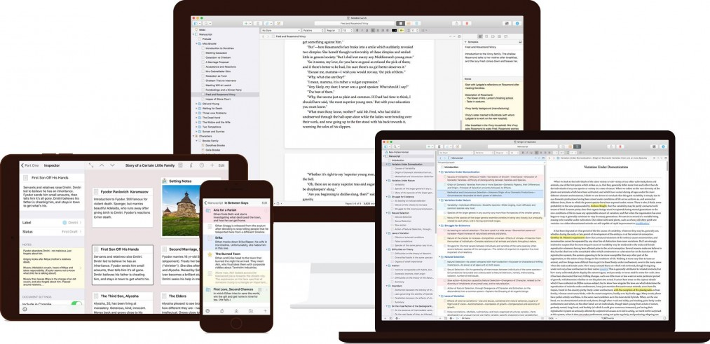 Scrivener - Scrivener is the go-to app for writers of all kinds, used every day by best-selling novelists, screenwriters, non-fiction writers, students, academics, lawyers, journalists, translators and more. Scrivener won't tell you how to write—it simply provides everything you need to start writing and keep writing.
