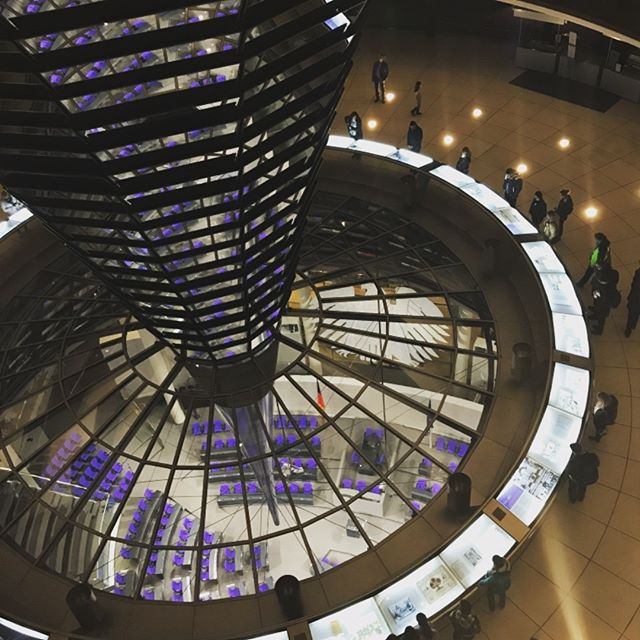 Looking down from the dome ramps of the Reichstag in Berlin. Sir Norman Foster, architect.