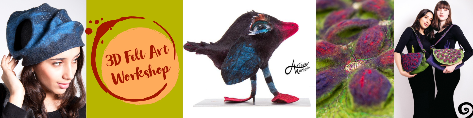 Learn or improuve your felting and creative skills by making a bag, a hat or sculpture in wet and nuno felt techniques. -
