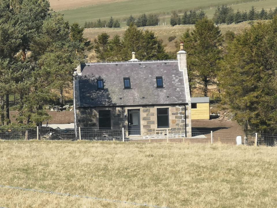 Burntreble Cottage - The first of the completed rebuilt and restored houses as part of the regeneration of the Cabrach and Glenfiddich Estates in association with EDF