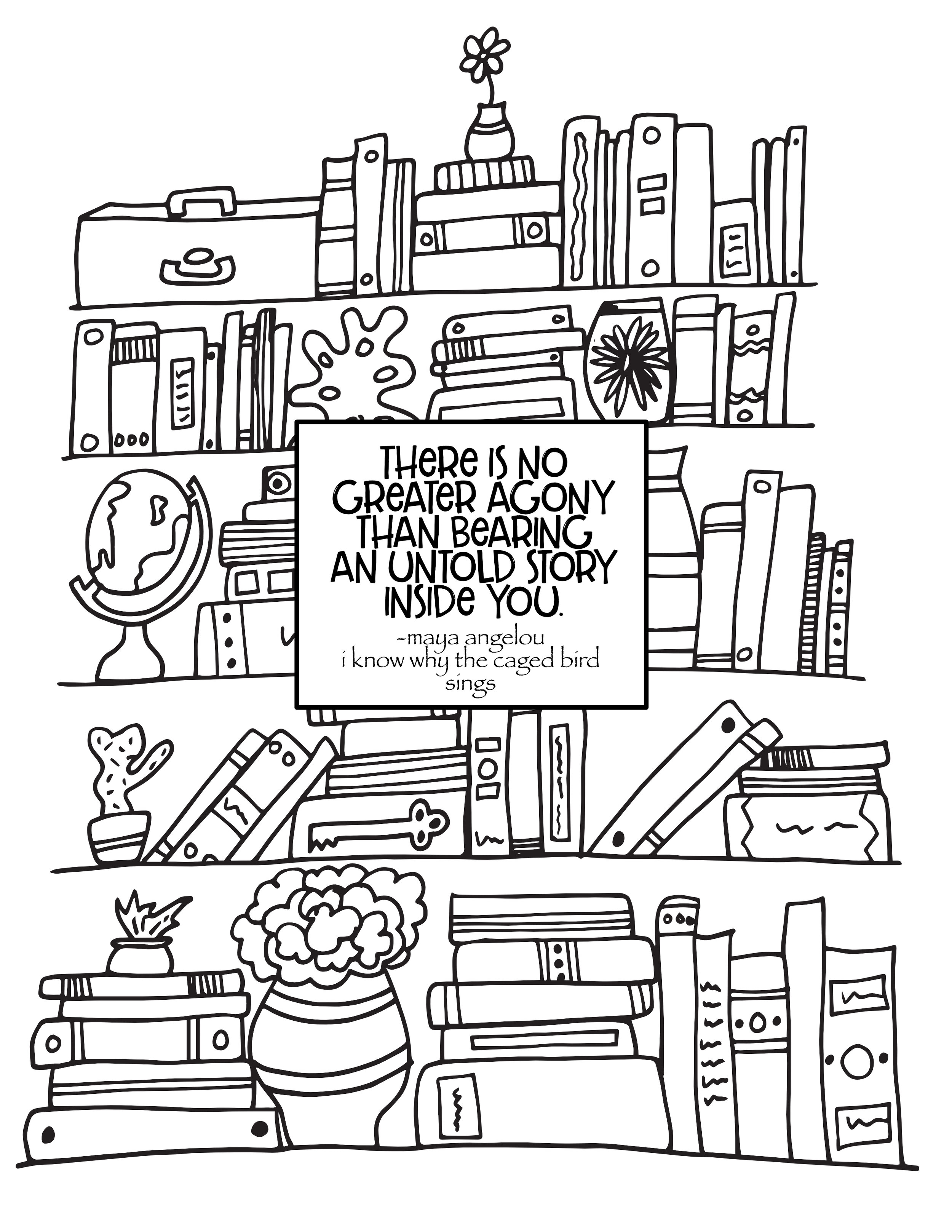 - Why The Caged Bird Sings Quote - Free Bookshelf Coloring Page