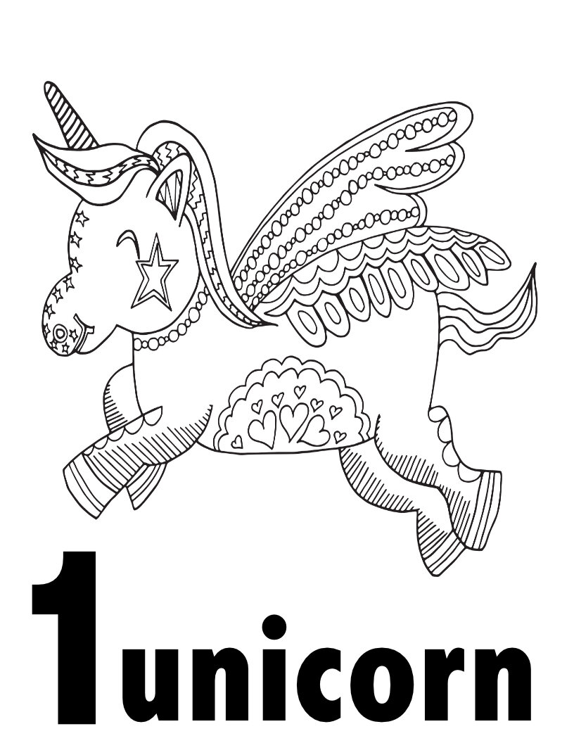It is a photo of Printable Unicorn Coloring Pages in pusheen