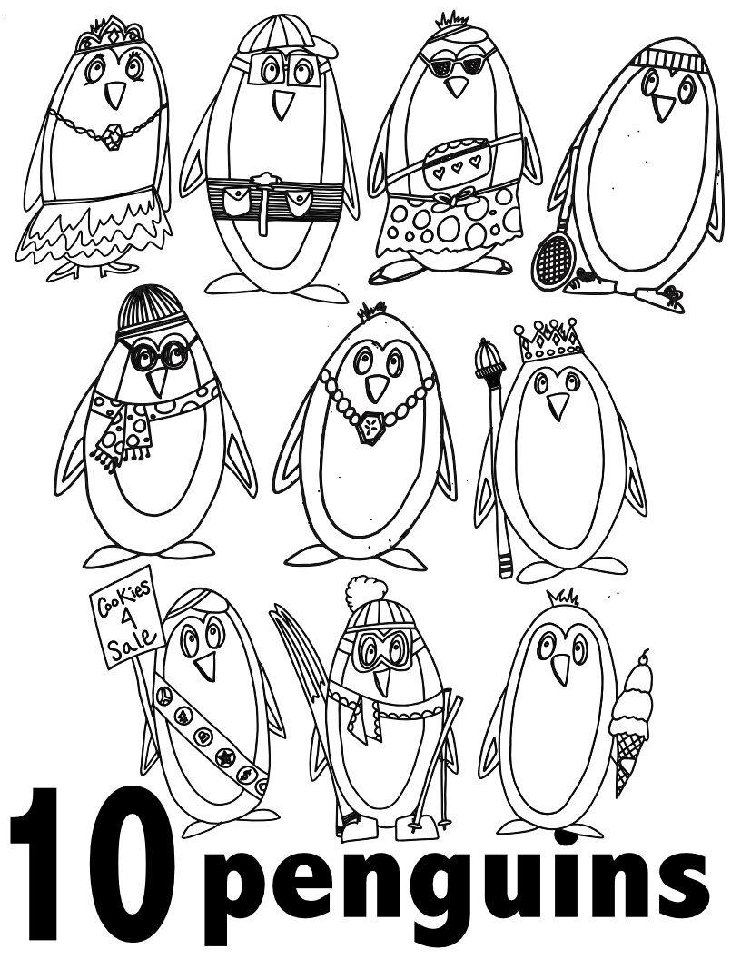 Free Penguin Numbers Coloring Pages 26-260 Preschool/Kindergarten