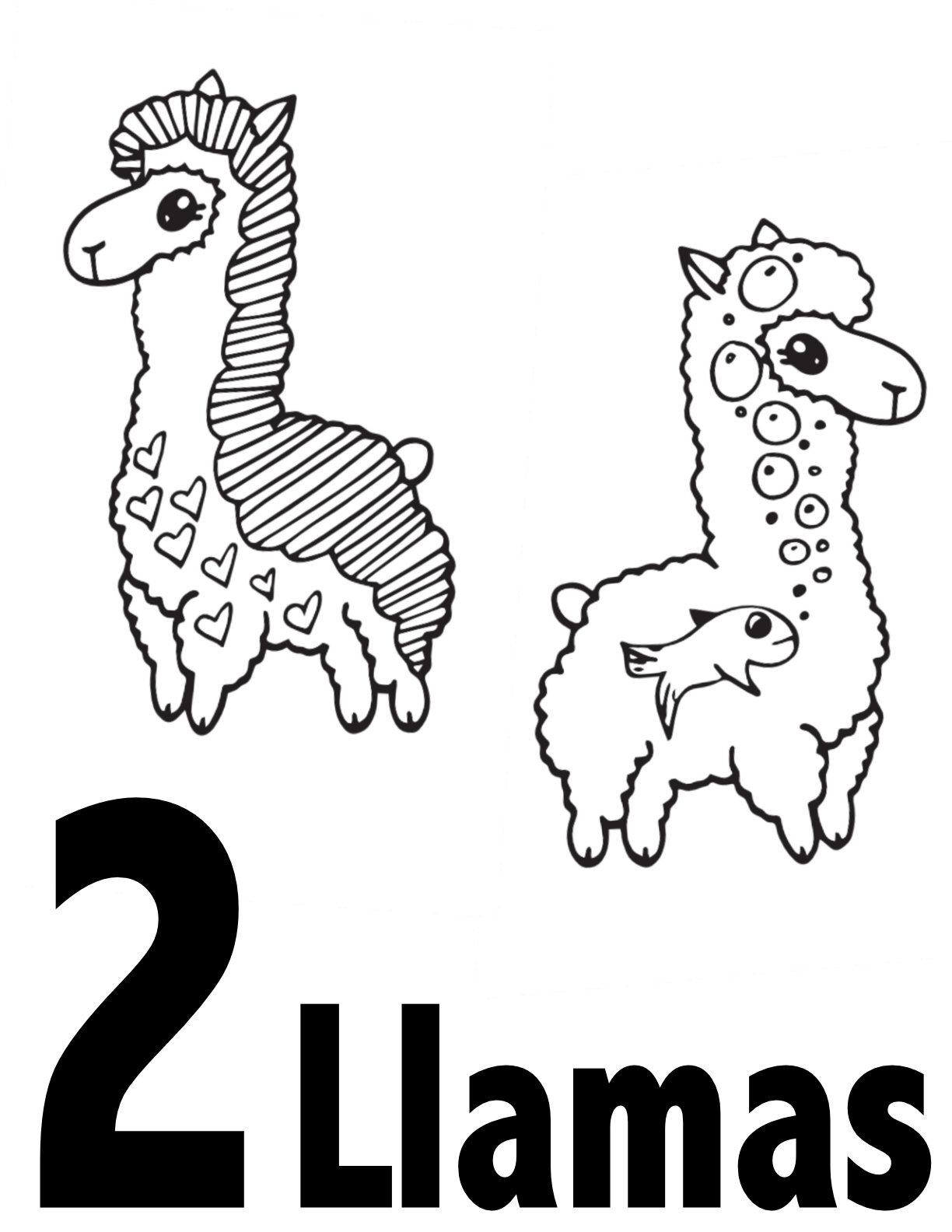 Llama Numbers 1 10 Free Printable Coloring Pages Preschool Kindergarten Stevie Doodles