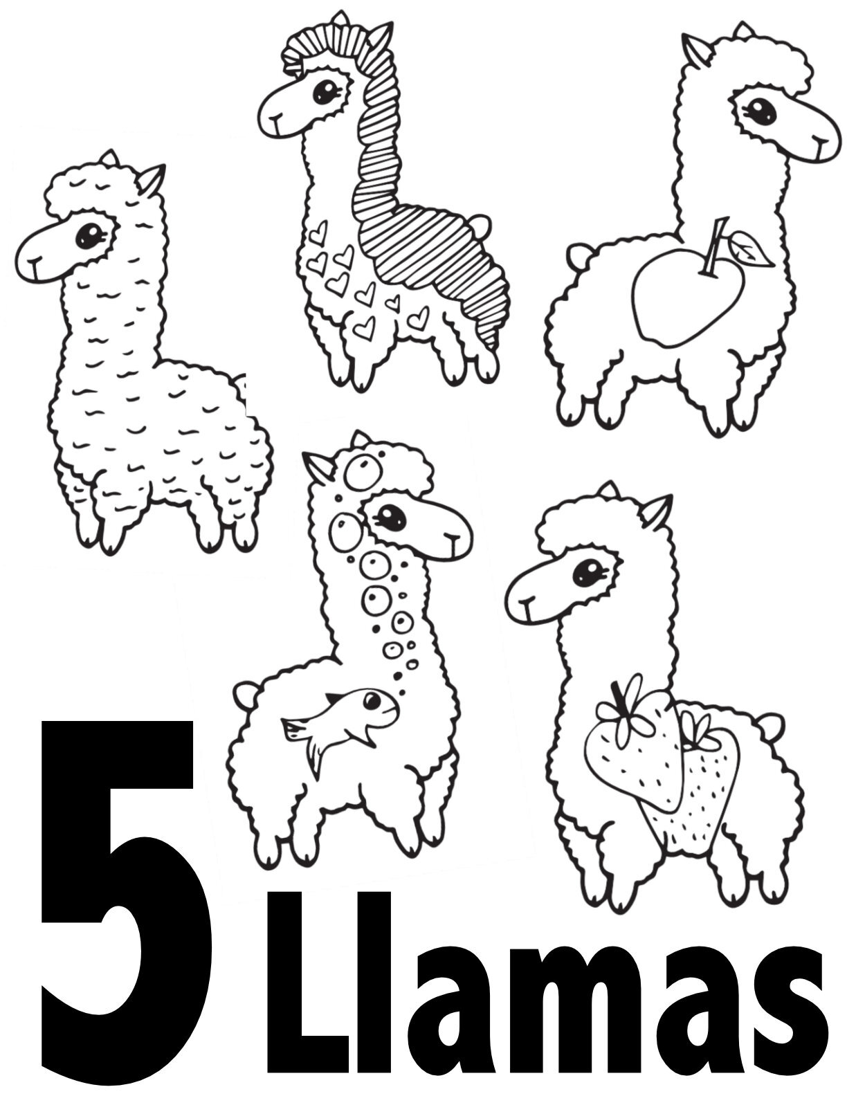 number-5-coloring-page | Crafts and Worksheets for Preschool ... | 1294x1000