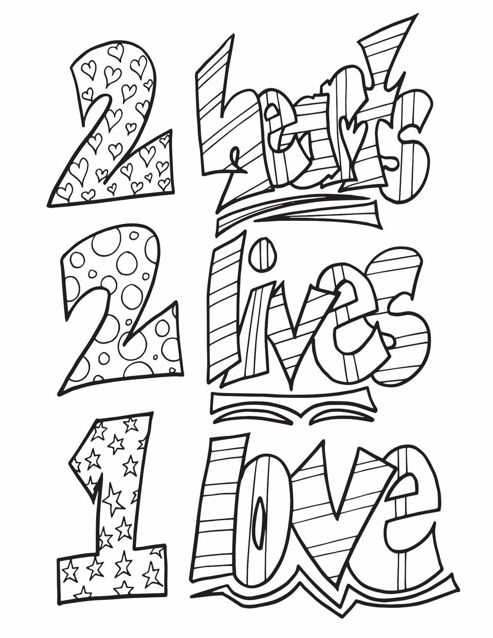 2 Hearts 2 Lives 1 Love Free Printable Coloring Page Stevie Doodles Free Printable Coloring Pages