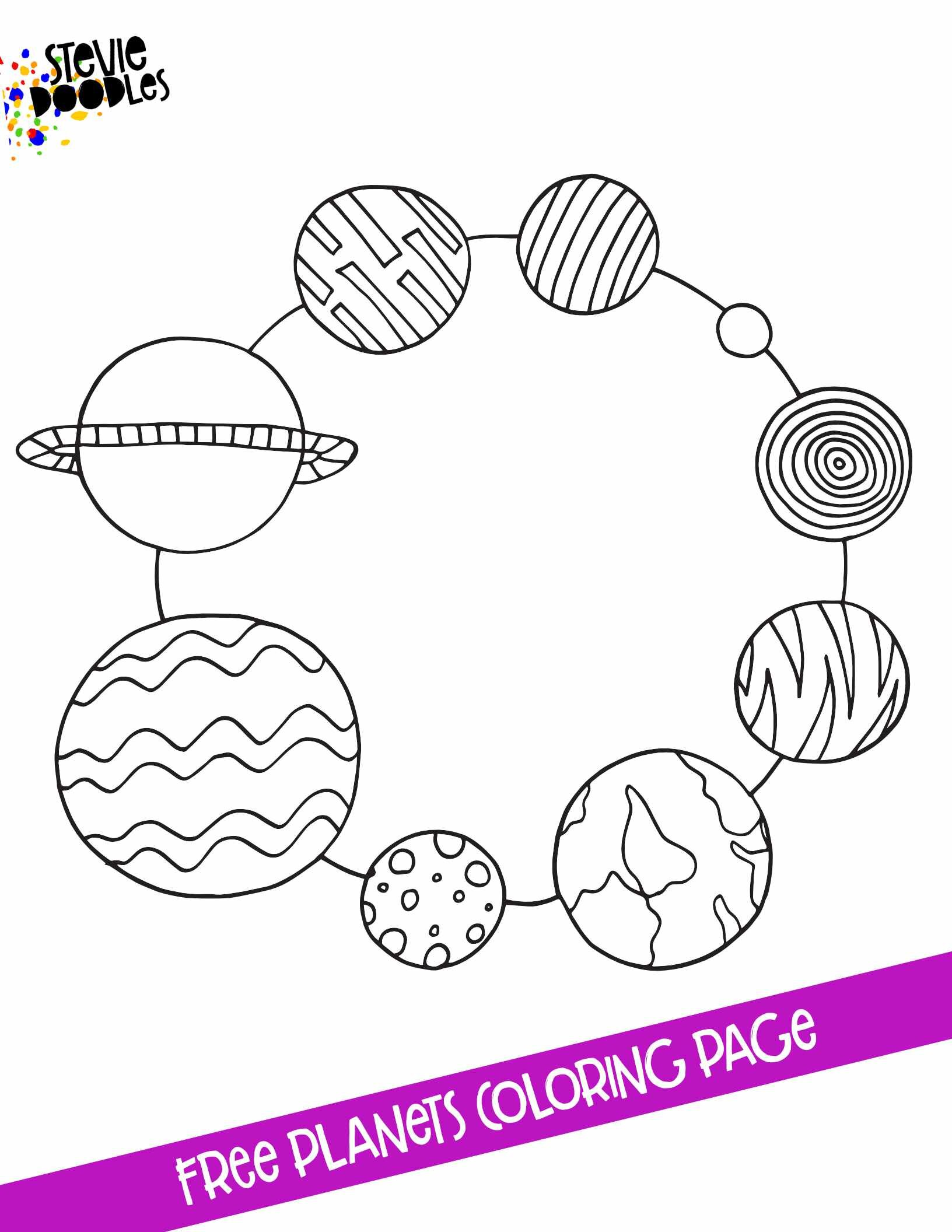 Ring Of Planets Free Printable Coloring Page Stevie Doodles
