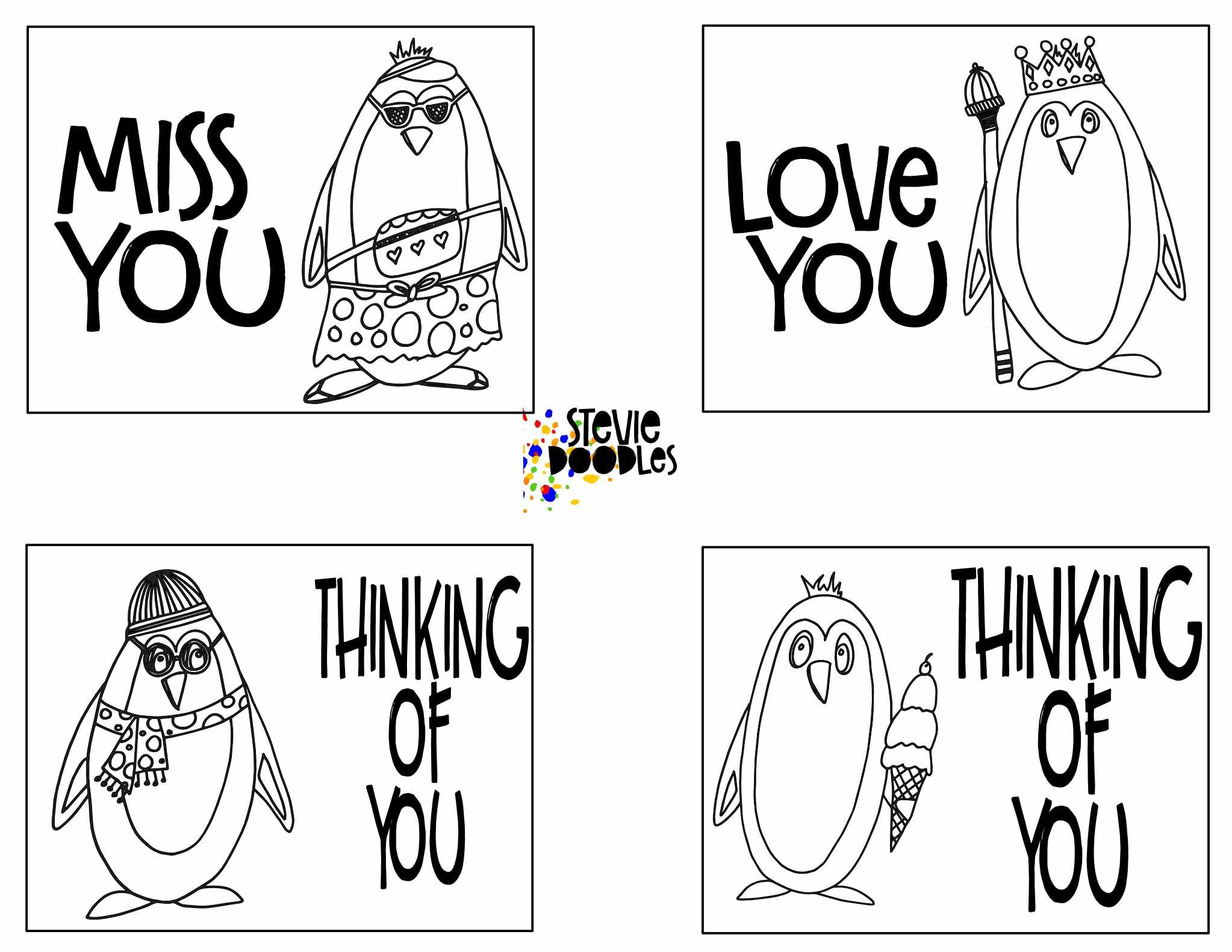 Free Thinking Of You Coloring Cards 28 Cards 7 Pages Printable Colorable Stevie Doodles