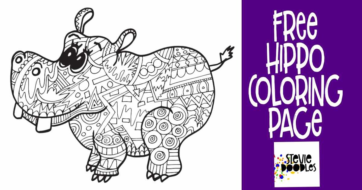 HIPPO Free Coloring Page! — Stevie Doodles Free Printable Coloring Pages