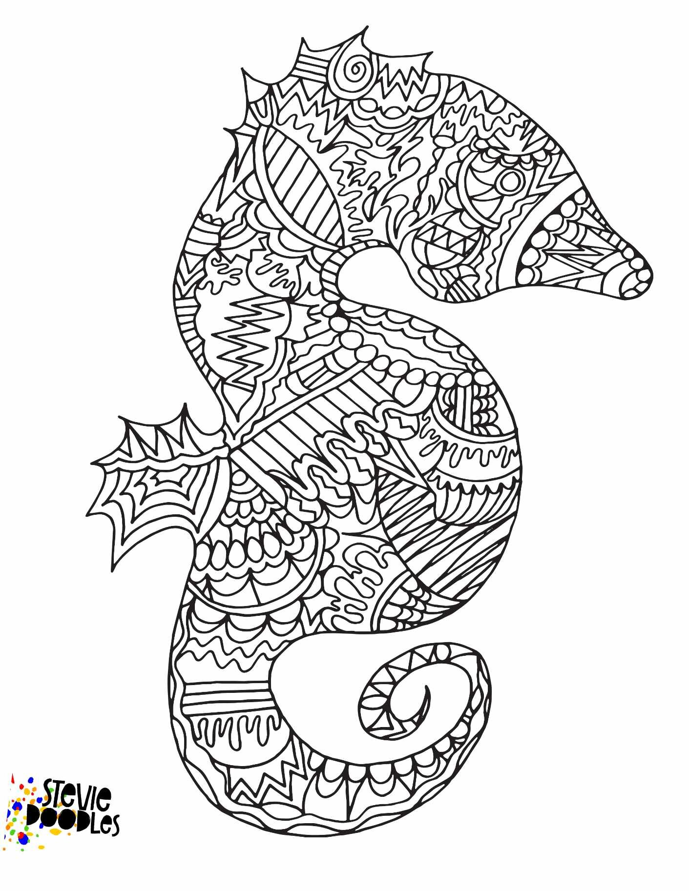 Free Seahorse Printable Coloring Page Stevie Doodles