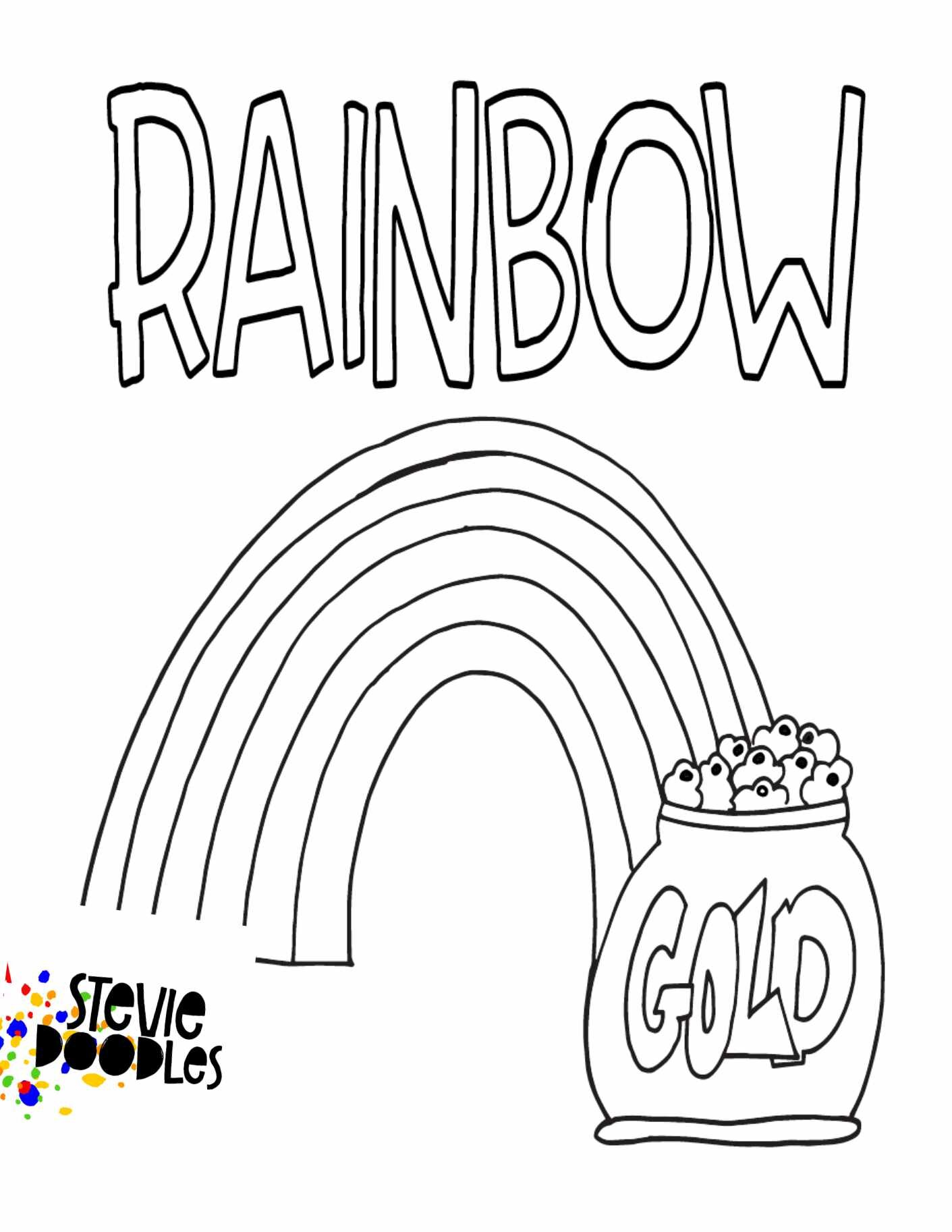 Rainbow With Gold Free Printable Coloring Page Stevie Doodles Free Printable Coloring Pages