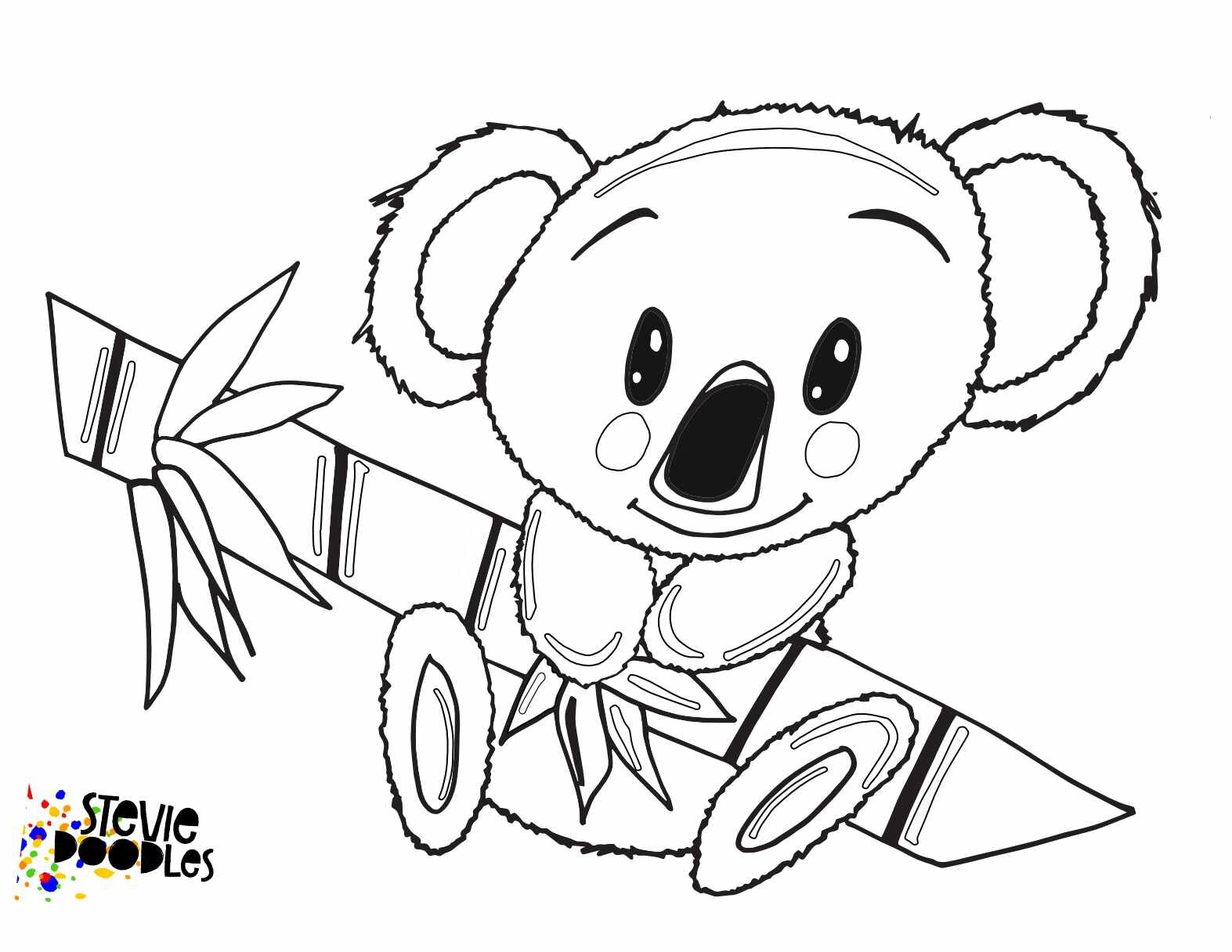 Little Koala With Australia Free Printable Coloring Page Stevie Doodles